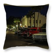 Downtown Old Cars Throw Pillow
