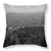 Downtown Portland Black And White Throw Pillow