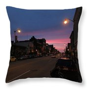 Downtown Racine At Dusk Throw Pillow