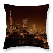 Downtown San Francisco At Night Throw Pillow