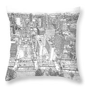 Downtown St. Louis Panorama Sketch Throw Pillow
