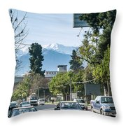 Downtown Street In Santiago De Chile City And Andes Mountains Throw Pillow