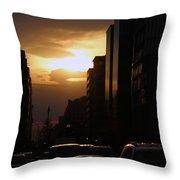 Downtown Sunset From Parking Lot Throw Pillow