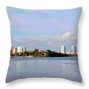 Downtown Tampa With Cruise Ship Throw Pillow