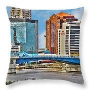 Downtown Toledo Riverfront Throw Pillow