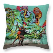 Downtown Walkers Throw Pillow