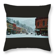 Downtown Wallace In Winter 2017 Throw Pillow