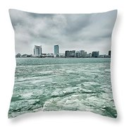 Downtown Windsor Canada City Skyline Across River In Spring Wint Throw Pillow