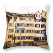 Downtown Zurich Switzerland Throw Pillow