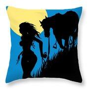 Downwind Evening Yellow Moon Throw Pillow