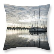 Downy Soft Clouds At The Marina Throw Pillow
