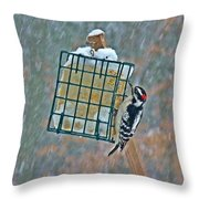 Downy Woodpecker In The Snow Throw Pillow
