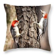 Downy Woodpeckers Throw Pillow