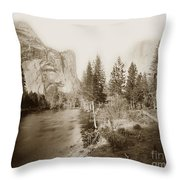 Domes And Royal Arches From Merced River Yosemite Valley Calif. Circa 1890 Throw Pillow