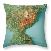 Dpr Korea 3d Render Topographic Map Border Throw Pillow