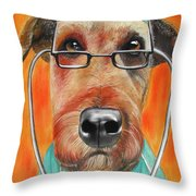Dr. Dog Throw Pillow by Michelle Hayden-Marsan