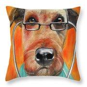 Dr. Dog Throw Pillow by Michelle Hayden-Marsan