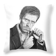 Dr. House  Hugh Laurie Throw Pillow