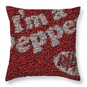 Dr. Pepper Bottle Cap Mosaic Throw Pillow by Paul Van Scott