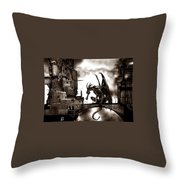 Dragon And Castle Throw Pillow
