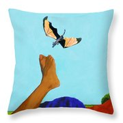 Dragon And Child's Feet Throw Pillow