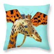 Dragon And Giraffe Throw Pillow