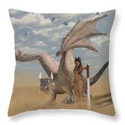 Dragon And Master Throw Pillow