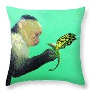 Dragon And Monkey Throw Pillow