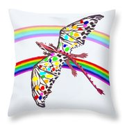 Dragon And Rainbow Throw Pillow