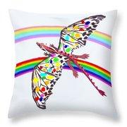 Dragon And Rainbow Throw Pillow