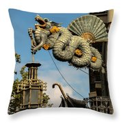 Dragon And Umbrella Sing In Barcelona Throw Pillow