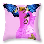 Dragon And Vase Throw Pillow