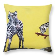 Dragon And Zebra Throw Pillow