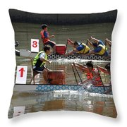 Dragon Boat Races On The Love River In Taiwan Throw Pillow