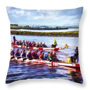 Dragon Boats Throw Pillow