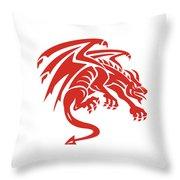 Dragon Gargoyle Crouching Silhouette Retro Throw Pillow