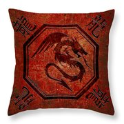 Dragon In An Octagon Frame With Chinese Dragon Characters Red Tint  Throw Pillow