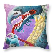 Dragon In Dots Throw Pillow