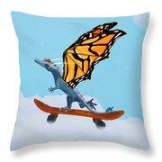 Dragon On Skateboard Throw Pillow