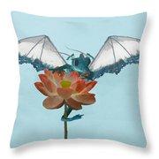 Dragon Peeks Around Flower Throw Pillow