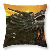 Dragon Wall - Yu Garden Shanghai Throw Pillow by Christine Till