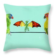 Dragon With Birds Throw Pillow
