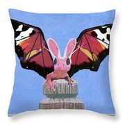Dragon With Bunny Ears Throw Pillow