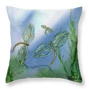 Dragonflies At Dusk Throw Pillow