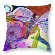 Dragonfly And Mum Throw Pillow