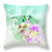 Dragonfly And Polka Dots Throw Pillow