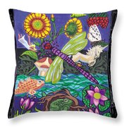 Dragonfly And Unicorn Throw Pillow by Genevieve Esson