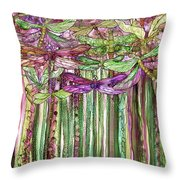 Dragonfly Bloomies 1 - Pink Throw Pillow