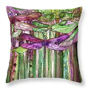 Dragonfly Bloomies 2 - Pink Throw Pillow