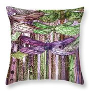 Dragonfly Bloomies 3 - Pink Throw Pillow